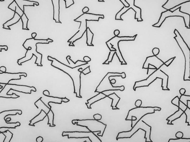 Karate moves pictograms line logo
