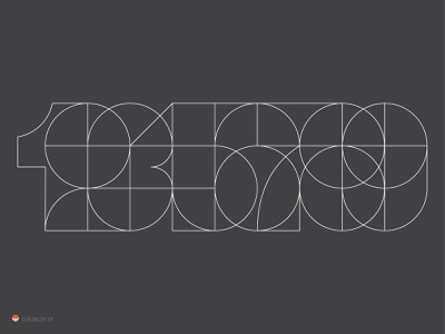 Numbers in a row number typography mark logo
