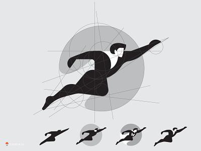 superhero WIP branding identity sketch logo