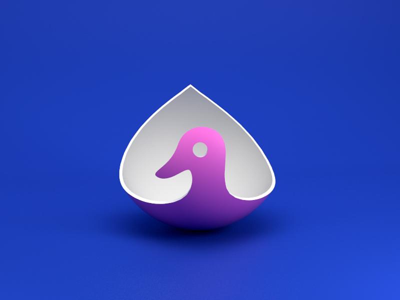 A Duck duck design bird logo 3d