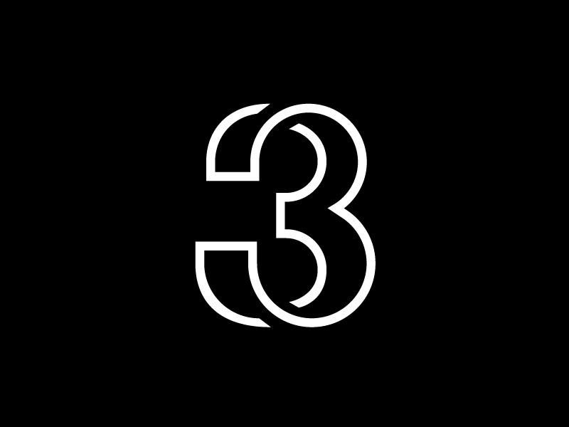 Three three mark logo symbol number typography