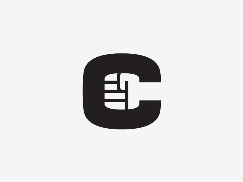 C Fist type logo mark symbol c letter brand identity