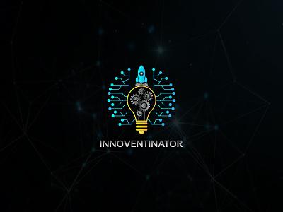 Innoventinator tech logo gear rocket innovation innovate technology tech icon emblem logo creative round branding logo design