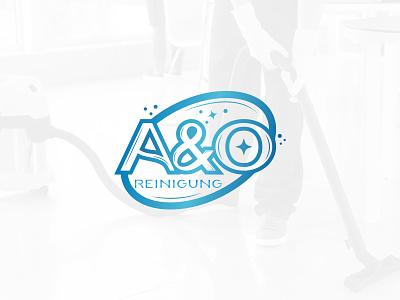 A O Reinigung flat vector design logo typography branding icon emblem logo creative round logo design cleaning clean reinigung