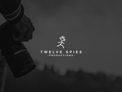 Twelve Spies productions branding modern flat log minimalist logo logodesign running logo man logo rental logo photography logo camera logo production logo