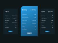 Pricing cards concept - Dark mode