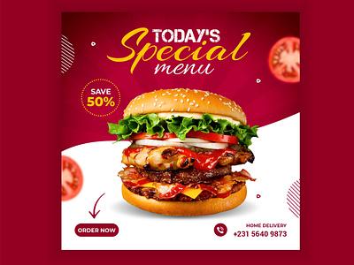 Food social media post design social media banner food social media post social media design social media food social media post design logo burger branding fastfood red design illustrator