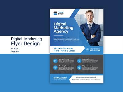 Digital Marketing Agency  Flyer free identity unique digital marketing services digital marketing agency digital marketing flyer template flyers flyer design flyer corporate a4 typography ux branding ui illustrator