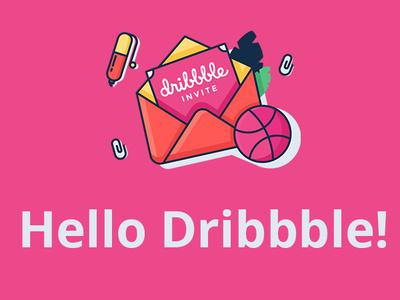 Dribbble Invite flat vector icon illustration design
