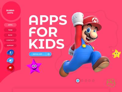 Web for kids! kid art web for kids kids landing page kid webpage kids web kid app illustration ux header exploration design color ui website homepage