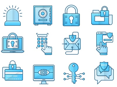 Security blue icons set