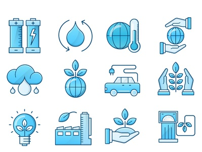 Ecology  Blue Icons Set