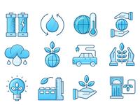Ecology  Blue Icons Set