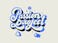 Passion Project blue typography brush vector design illustration color letters lettering