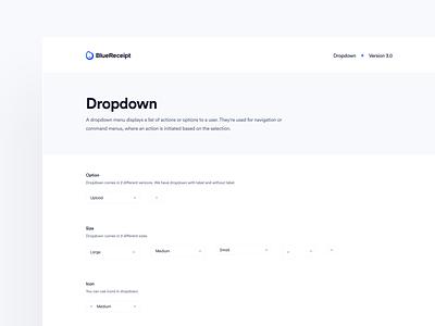 BlueReceipt's Design System: Pangea ✶ Dropdowns button buttons design system saas ui dropdown button design dropdown design dropdown states dropdown rules pattern library hand-off