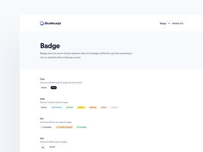 BlueReceipt's Design System: Pangea ✶ Badge library badge system badge design blue product ui saas design system badge design system badges badge