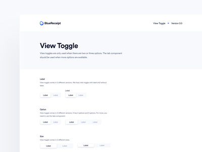 BlueReceipt's Design System: Pangea ✶ View Toggle bluereceipt switch design system saas toggle view toggle blue product ux ui