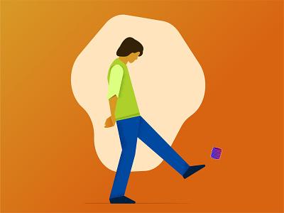 Walking Alone - Illustration flat design boys flat illustration simple clean adobe illustrator concept illustrator flat man vector illustration character design character
