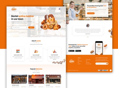 bakery Food Online website online-food food bakery bakker mockup typography web photoshop ui ux design