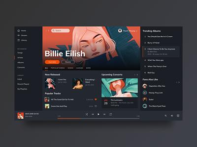 Music Player Concept website design song album music player playlist music billie eilish illustration website web ux ui product flat minimal product design design