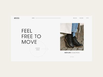 ECCO redesign #1 - Main page ux web uiuxdesign ui design dark uxui redesign fashion shoes ecco uiux ui