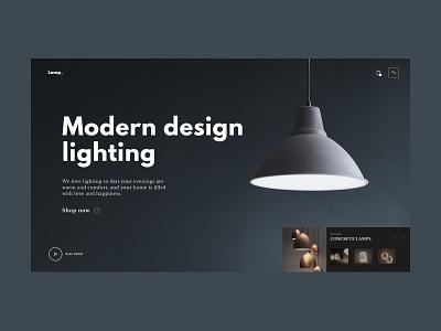 Lamp concrette lighting modern lamp minimal website web ui ux design
