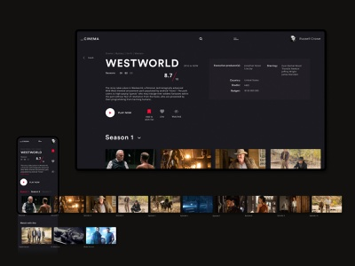 Cinema - series page movie movies app serials serial cinema ux ui design dark black