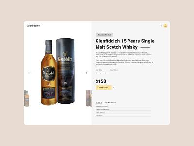 Glenfiddich - product card uxdesign uxui premium alcohol whiskey web uiuxdesign ux card product uidesign uiux ui