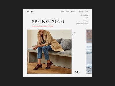 ECCO - main page redesign. collection elegant fashion light web uiuxdesign design uiux ux ui shoes redesign ecco