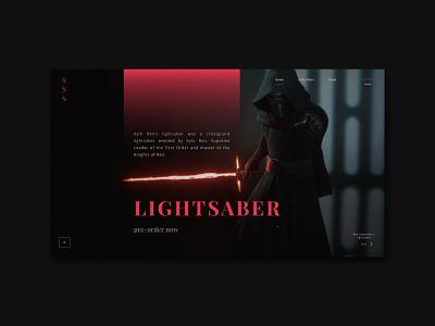 STAR WARS - LIGHTSABER ui design concept redesign concept kylo ren kylo lightsaber weapon red web black uiuxdesign uxui design ux uiux ui starwars