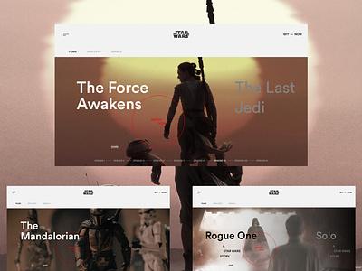 Star Wars page -  concept spin-off film serial serials series the force star wars movie cinema uxui uiuxdesign uiux design dark web ux ui