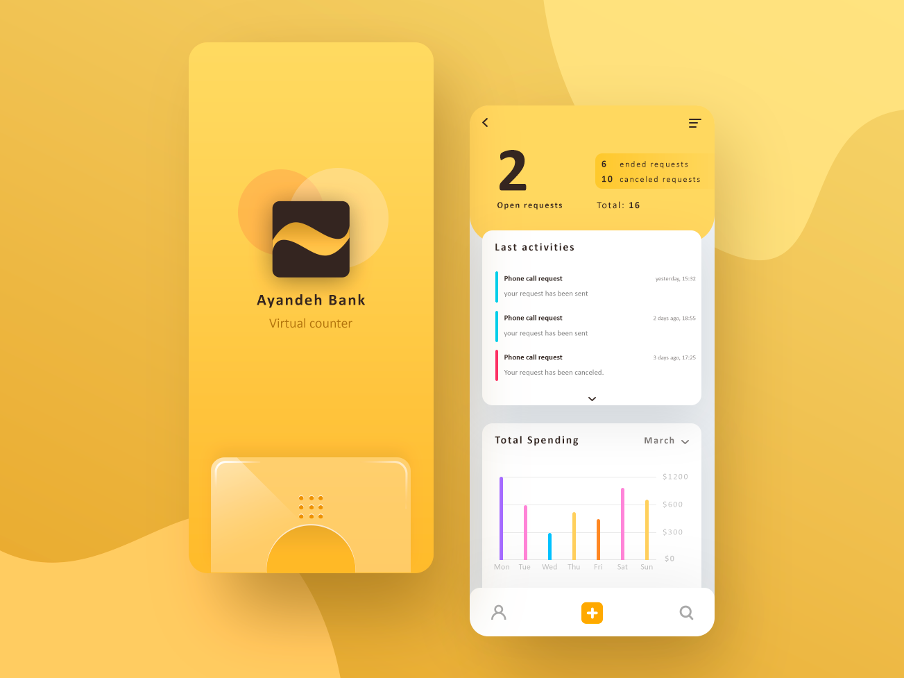 Ayandeh bank bar chart chart counter android ios iphone ayandeh yellow splash ux uiux ui mobile ui mobile banking banking bank