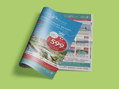 Cyprus Paradise Holiday 2019 tourism hotel advert poster layout vector typography newspaper design branding
