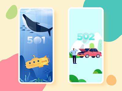 500 Error Mobile Animation interaction animation bubble smoke grass sea fish whale car apps mobile 404 error 404 page 404 500 error 500 illustration