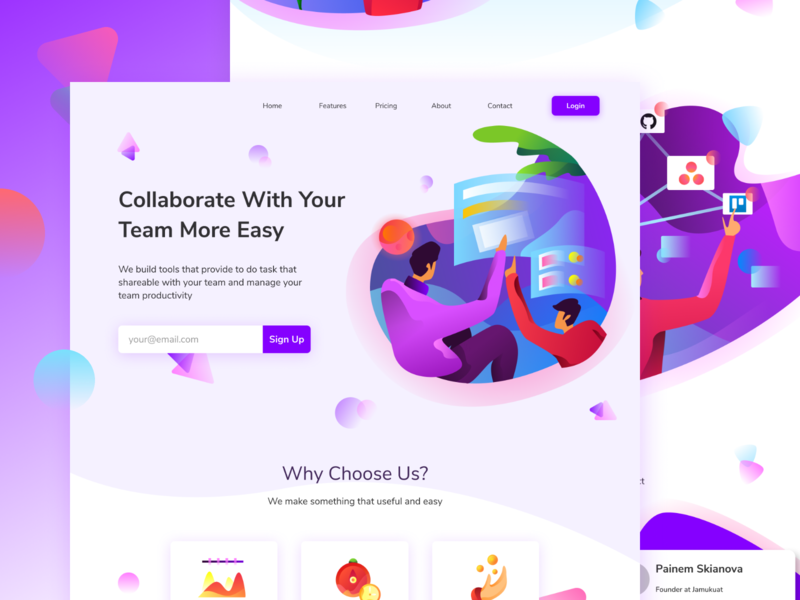 Collaborative Website website homepage purple collaborate landing page icon ilustration gradients gradient illustration