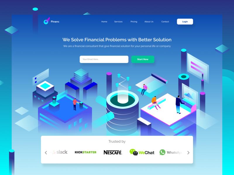 Financial Adviser Header Website finance business collaborate collaboration ilustration isometric finance website landing page gradients gradient illustration