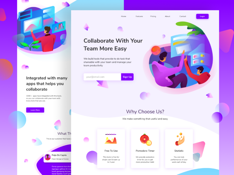 Collaborative Website Design task app teamwork website design analytic analyse web design homepage collaborate website ui icon landing page ilustration gradients gradient illustration