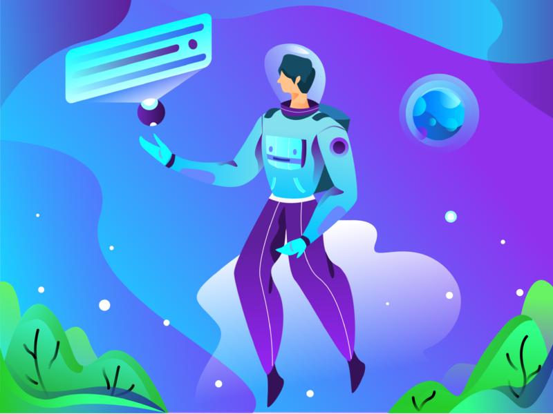 Astronout Illustration Exploration analyse website ui landing page gradients gradient ilustration illustration