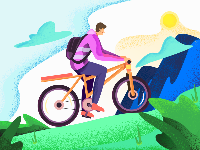 Bike Traveller backpacker travel plant bycicle bike texture vector website landing page gradients gradient ilustration illustration