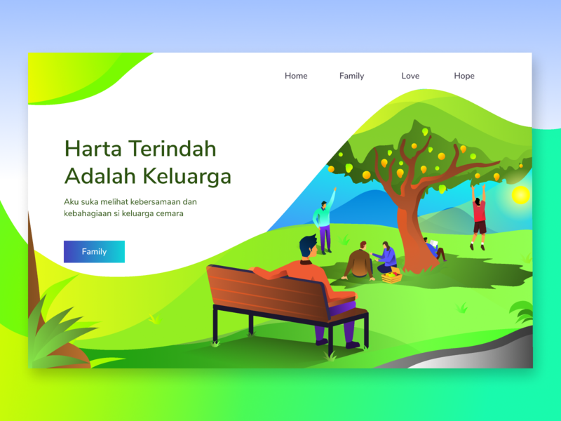 Family Gathering garden play fun playing fruit landing  page family reunion family web design isometric homepage ui icon website landing page gradients gradient ilustration illustration
