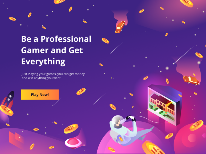 Professional Gamers Exploration rocket coin dollar money galaxy astronout web design isometric homepage ui icon website landing page gradients gradient ilustration illustration