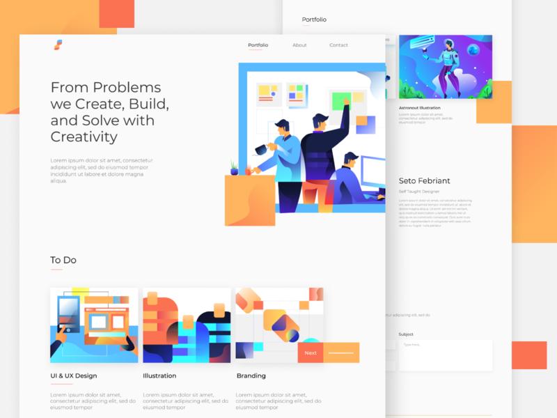 Portfolio Exploration portfolio web design homepage ui website landing page gradients gradient ilustration illustration