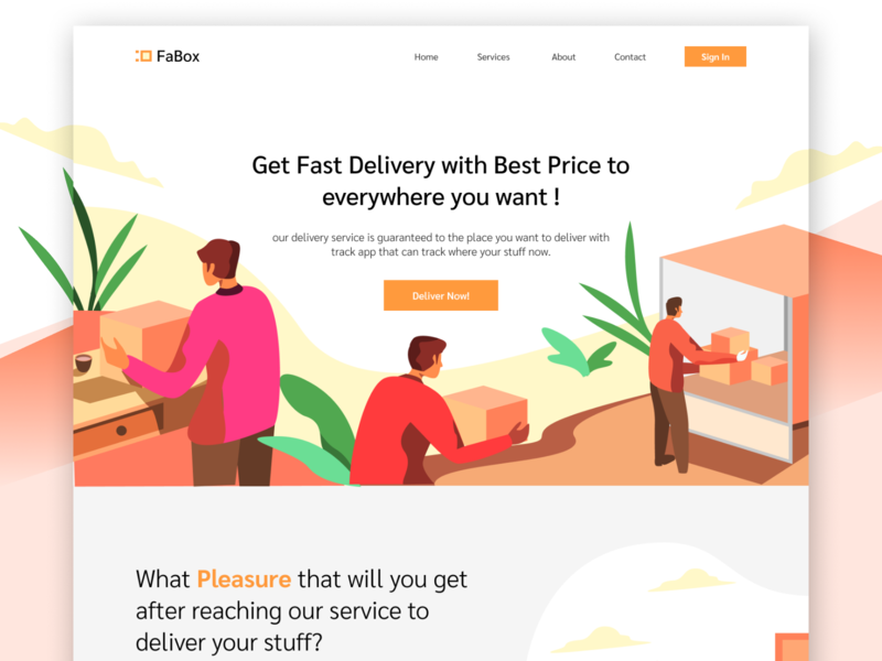 Deliver Everything Website service app box delivery deliver isometric web design homepage icon ui website landing page gradients gradient ilustration illustration