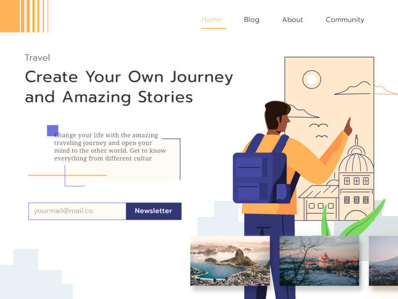 Traveling Landing Page Exploration monolines traveling journey stories travel homepage ui website landing page ilustration illustration