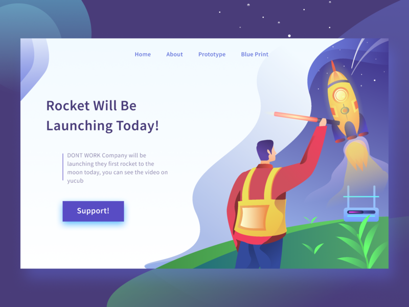 Rocket Launch Landing PAge galaxy rocket launch astronout space rocket flat homepage ui website gradient landing page gradients ilustration illustration