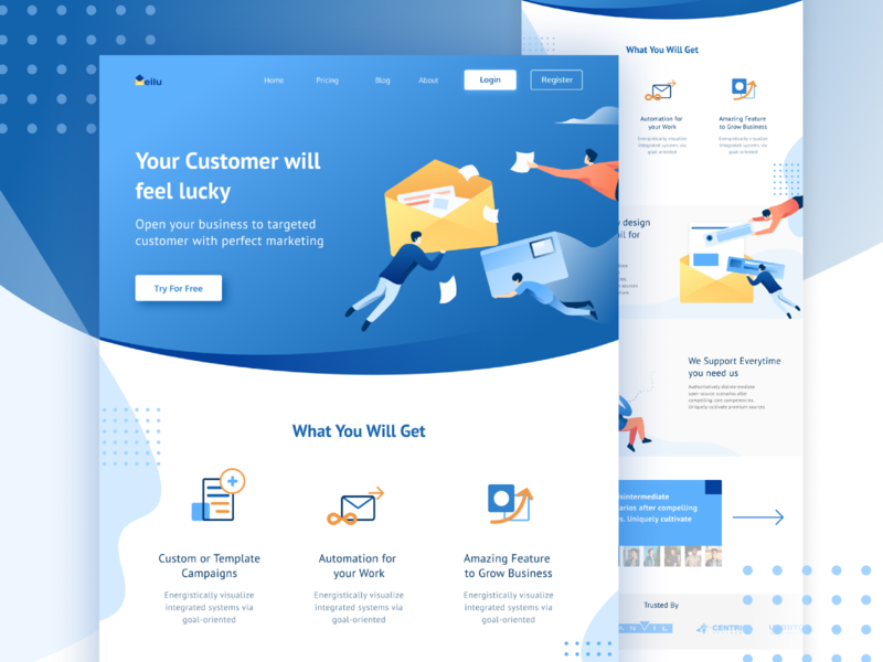 Mail Website Design mail box web design homepage website landing page gradients ilustration mail app gradient illustration newsletter mailing mail