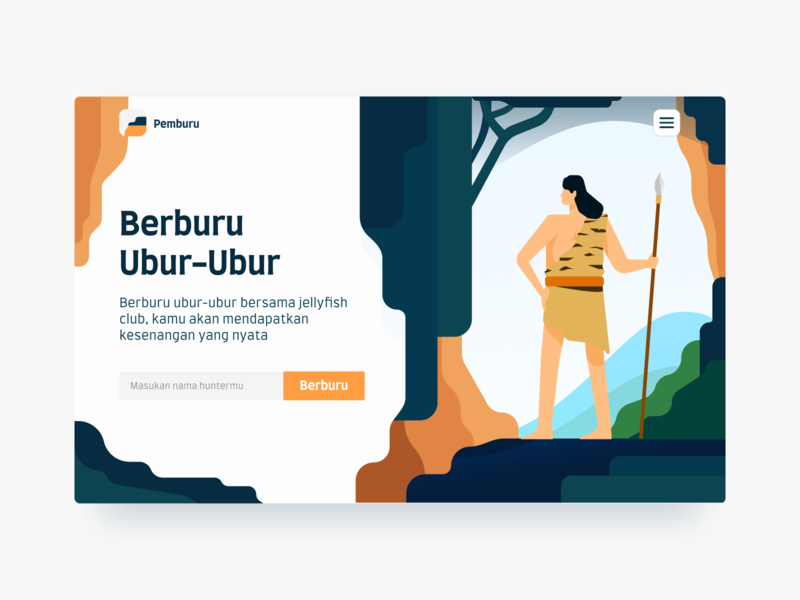 Hunting Landing Page Exploration ancient forests hunters mountain forest hunter hunting web design landing page ilustration gradients illustration