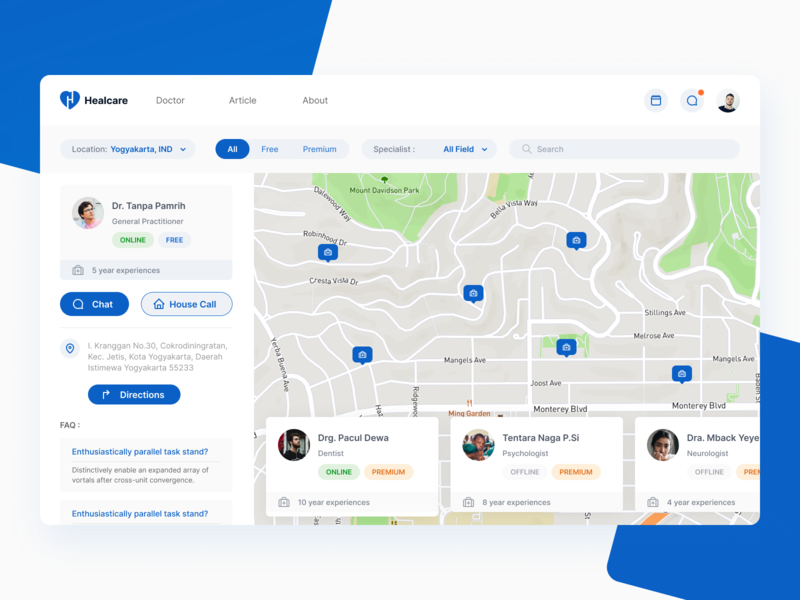 Healcare Search Doctor Dashboard map healthcare patient doctor cure health heal dashboard app dashboard ui dashboard design dashboard