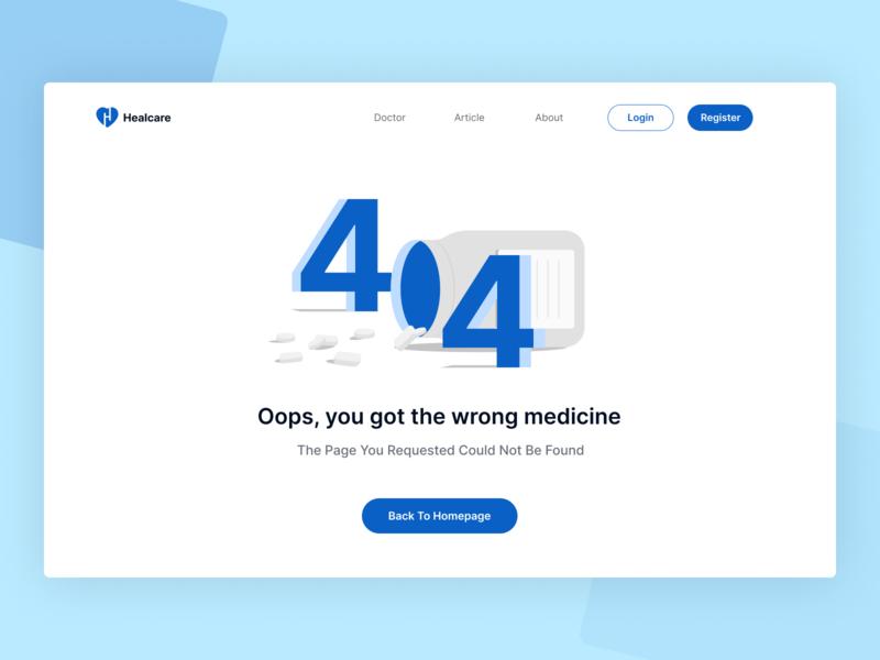 Healcare 404 Page doctor health medicine design homepage website 404 error page ilustration illustration 404 page 404