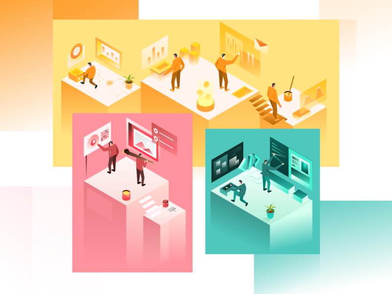 Designers Developers and Business collaboration work sales business developer designer isometric gradient ui website landing page gradients ilustration illustration